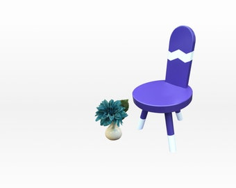 Kids Chair Accent Chair Childrens Furniture - Purple and White Chevron by Candlewood Furniture Kid's Chair