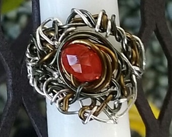 Wire Jewelry, Ring, Handmade- Crystal, Bronze, Silver, Hematite, Design, Index Finger Ring, Size 6