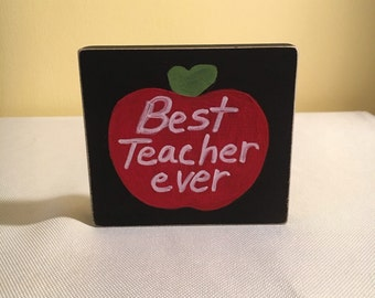 Teacher Appreciation Gift: wooden block with heart felt message