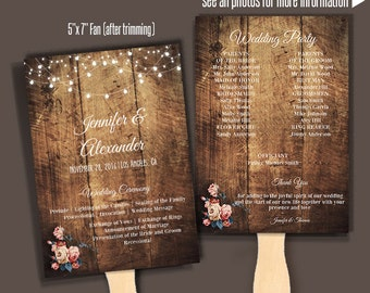 Printable Wedding Program Template, Fan Wedding Program, Instant Download Self Editable PDF A150