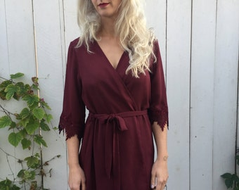 Burgundy Robe with Lace Trim Sleeves