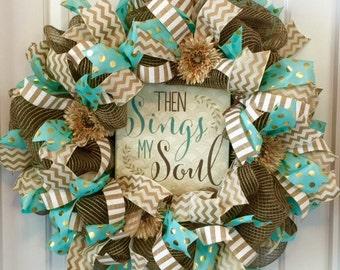 Front Door Wreath, Wreath, Burlap Wreath, Summer Door Wreath, Religious Decor, Religious Gift, Religious Wreath, Beautiful Front Door Wreath