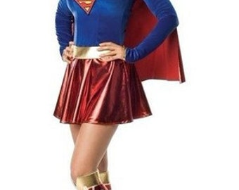 Super hero super girl ladies woman's  supergirl costume fancy dress and boot covers in size 4 6 8 10 12 14 16 18