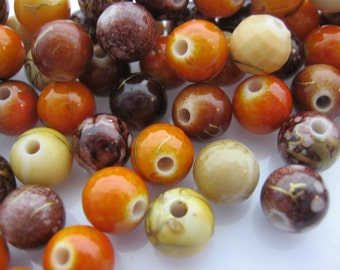 """50 Mixed Brown Drawbench Beads 6mm (1/4"""") Earth Tones Glass Beads Jewelry Making Beads Supplies"""
