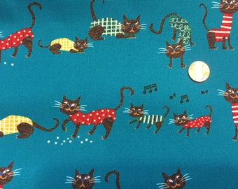 ON SALE  Meow Meow Turquoise By MiyachannK Westex Fabrics Japan