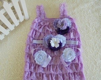 lavender baby romper,lavender romper, lace baby romper,ruffle lace romper,photo prop romper,smash cake romper,girl petti romper,lavender set