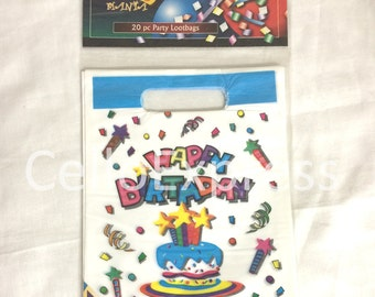 Blue & White Happy Birthday Childrens Party Bags