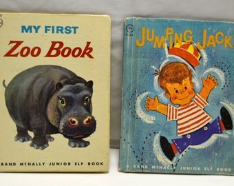 VTG Jumping Jack & My First Zoo Book Rand McNally Junior Elf Book  Children's Books Lot