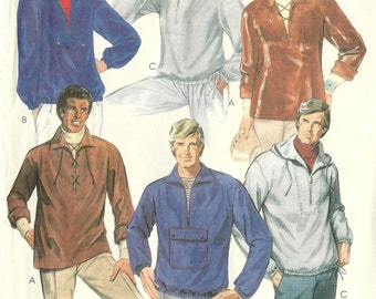 McCall's vintage 1980s sewing pattern - men's hooded shirt jacket - Size S