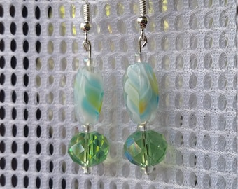 Green and blue marbled earrings