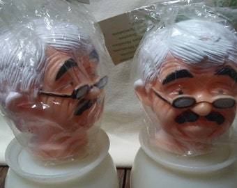 Pair GRANDPA DOLL HEADS,Fibre-Craft brand,Vinyl doll parts,Doll making supply,Vintage