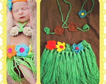 Baby Hula Outfit, crochet, halloween, costume, photo shooting, prop set, shower gift, green