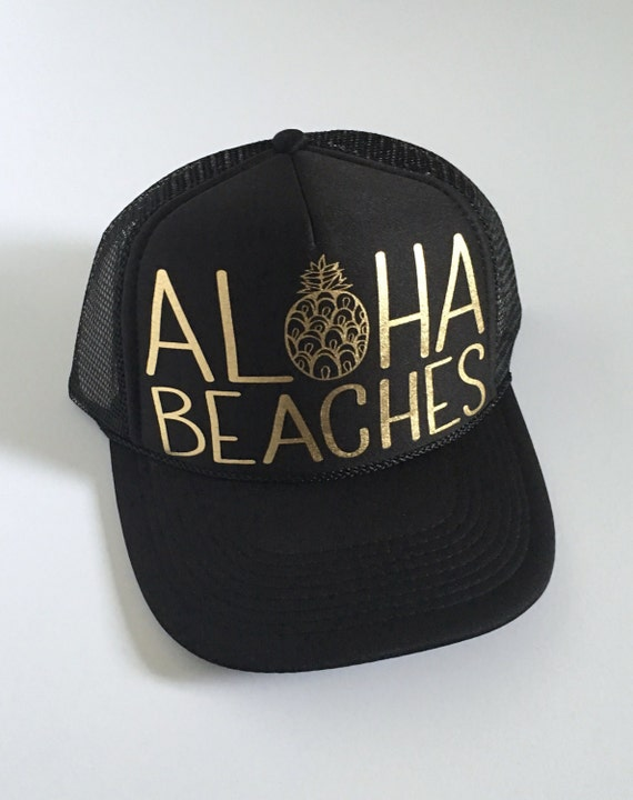 Aloha Beaches Hat| Aloha Trucker Hat| Aloha Hat| Trucker Hat| Hawaii Hat| Pineapple Hat| Pineapple| Beach Hat| Black Hat