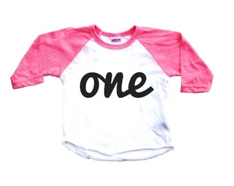 First Birthday Shirt;1st Birthday Shirt; One; 1; First Birthday Tee; One Birthday Shirt; baby girl, baby boy, pink birthday