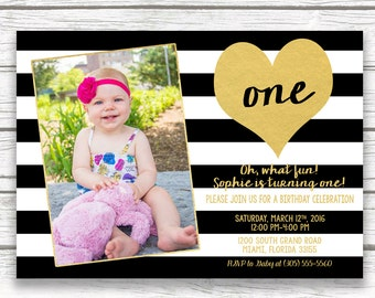 First 1st Birthday Invitation Girl, Black and White Stripe Birthday Invitation, Gold Heart Birthday Invitation, First Birthday Photo Invite