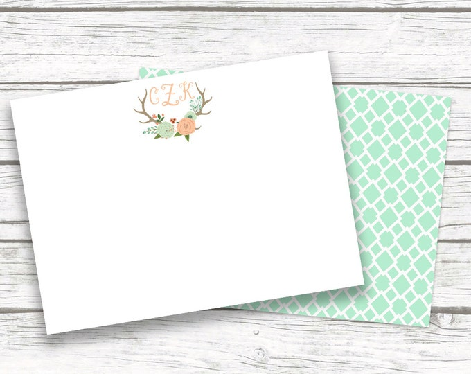 Antler Boho Monogram Stationery Note Cards, Mint Peach Aqua Floral Notecards Matching Back, Bridesmaid Gift, Printed Printable Options