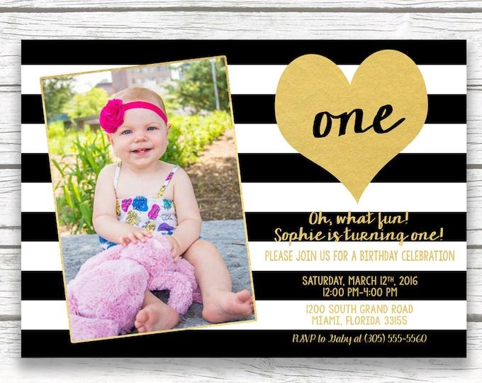 Black and White Stripe Birthday Invitation, First 1st Birthday Invitation Girl, Gold Heart Birthday Invitation, First Birthday Photo Invite