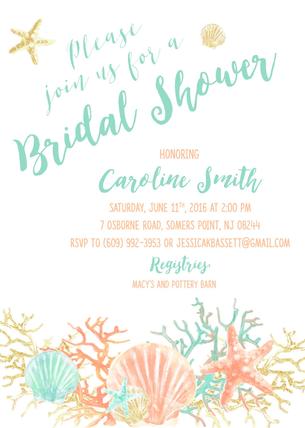 Beach Bridal Shower Invitation Coral Starfish Bridal Shower – Beach Wedding Shower Invitations