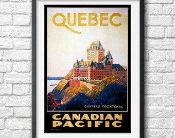 Quebec travel poster vintage Canadian Pacific Train Canada travel poster Art Deco poster Print