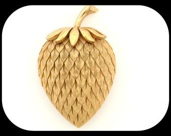 Vintage Designer Crown TRIFARI Gold Plated STRAWBERRY BROOCH