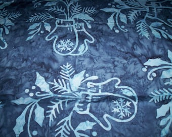 """1 yard x 44"""" cotton batik Snow Days from Moda Fabrics navy with blue spriggs and mittens"""