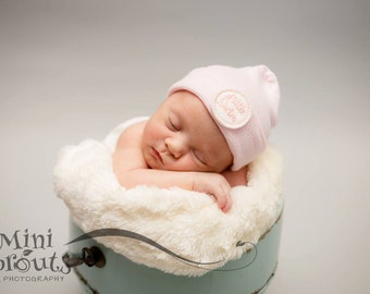 Little sister hospital hat, newborn hospital hat, girl hospital hat, newborn hospital hat, baby girl hospital hat, newborn hat, pink hat