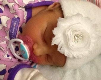 White newborn beanie, white beanie, white baby hat, white hospital hat, infant baby hat, newborn beanie, baby hospital hat, baby hat