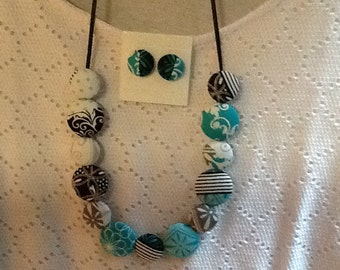Necklace from covered buttons