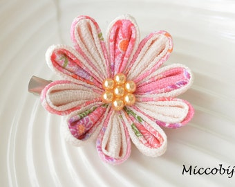 Japanese Fabric Floral Brooch - Light Pink