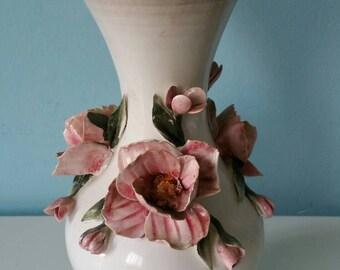 Beautiful handpainted Italian ceramic vase with roses Bassano