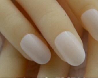 24 Off White Full Cover Press On Nails, 1 Mini Nail File, & 1- 2g Glue Bottle