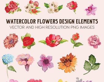 Watercolor Flower Clipart, Flower Watercolor Clipart, Watercolor Floral Clipart Clip Art PNG Vector EPS AI Design Elements Digital Download