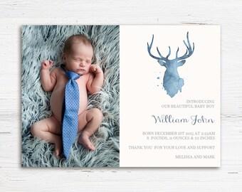Boy Birth Announcement - Printable Birth Announcement - Baby Boy Birth Announcement - Watercolor Deer Announcement - Printable Announcement