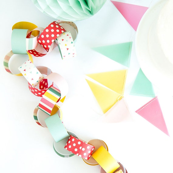 ... Paper Garland, Birthday Party Garland, Paper Chain Links, Paper Chains
