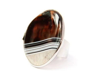 Ring with big stone, ring with agate, stone ring, big ring, brown ring,ring boho, beautiful ring natural stone, unusual ring, exclusive ring
