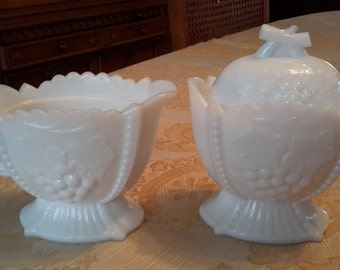 Vintage Westmoreland Cherries, Grapes White Milk Glass Sugar Creamer mid century milk glass shabby chic cottage chic, romantic decor, gift