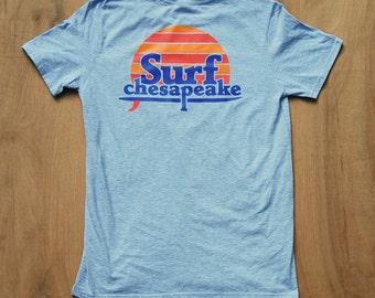 Surfer Sunset  Surf Shirt   Surfer Shirt  Surf Sunset Shirt   Retro Surf Shirt   Chesapeake   Surf Sun   Gray
