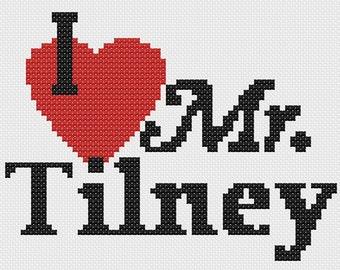 I love Mr. Tilney: cross stitch pattern