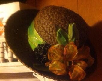 Brown embellished hat