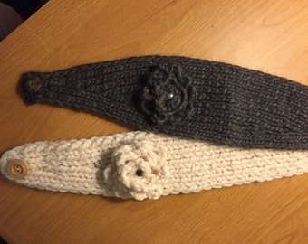 Grey or white Headband, earwarmer with decorative flower , adult size