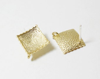 E0094/Anti-Tarnished Matte Gold Plating Over Brass/Convex Rhombus Earrings /14mm/1 pair