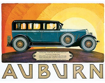 Auburn Vintage Auto Art Print ready for framing, puzzle
