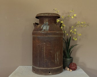 Large Antique Milk Can / Vintage Milk Jug / Old Milk Can / Metal Milk Can / Vintage Milk Can / Milk Can Decor / Metal Milk Can