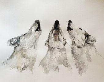 Original Watercolor Howling Wolves