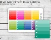 Colorful // 8 Heart Ombre Checklist Stickers // Perfect for Erin Condren, Plum Planner, Kikki K, and Filofax Planners