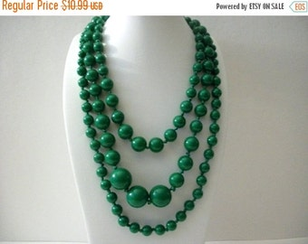 ON SALE Vintage 1960s Radiant Shade Of Green Triple Strand Chunky Lightly Dipped Necklace 72216