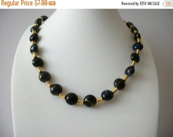 ON SALE Vintage Gold Black Swirls Necklace 8916