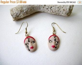 ON SALE Vintage Figural Theater Female Rhinestone Eyes Earrings 61916