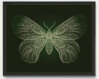 Butterfly Art Printable, Line Drawing Animal Poster, Butterfly Wall Art, Printable Home Decor, Animal Print, Woodland Decor, Nursery Prints