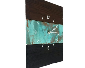 """Copper & Reclaimed Wood Handcrafted Wall Clock 12"""" x 16"""""""